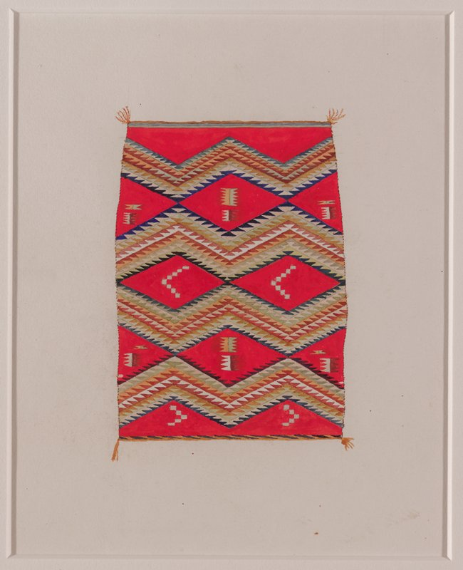 depiction of red textile with large zigzagging blue, green, brown, and white bands; geometric motifs between zigzags; framed