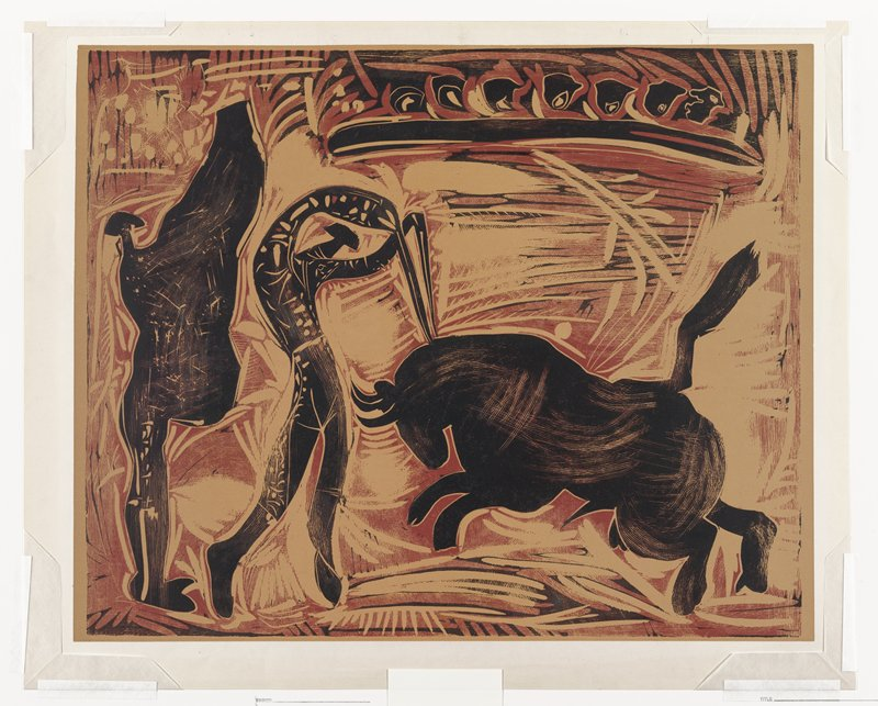 From a set of five progressive working proofs for Le Banderillero. maroon and black image against tan background; blocky, stylized figures; charging bull at R; matador figure driving two swords into bull's neck at L; dark figure at far L holding up an open cape; stylized background with possible audience members