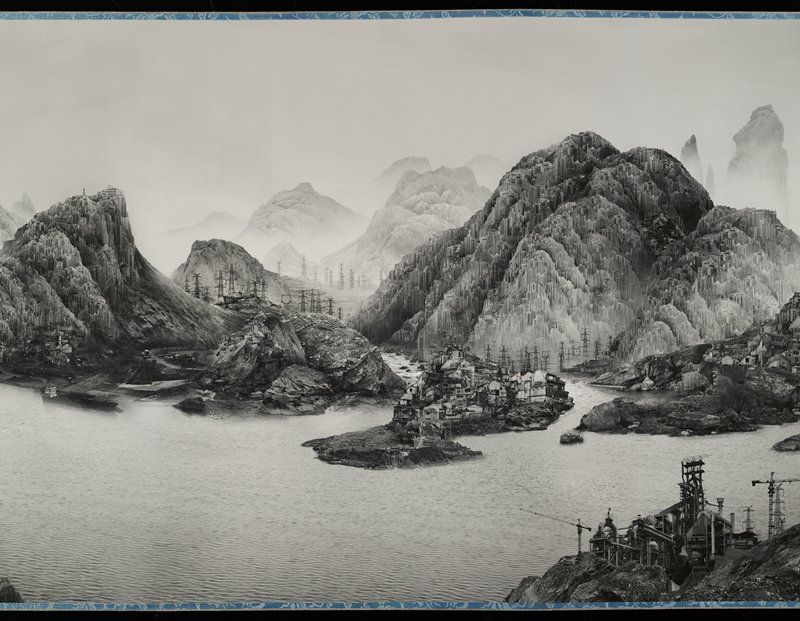 digitally manipulated black and white image; futuristic landscape with mountains made up of skyscrapers and houses; power plants and construction sites; electrical poles and towers; large mountains, streams, rocks, and rivers; silver leaf at front of scroll; gold label with text on exterior; clear plastic rollers