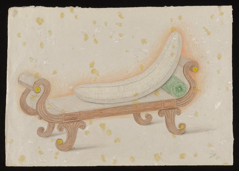 colored image of a peeled banana lying on a wooden sofa, propped up with a green bolster pillow; yellow and white dots surround sofa