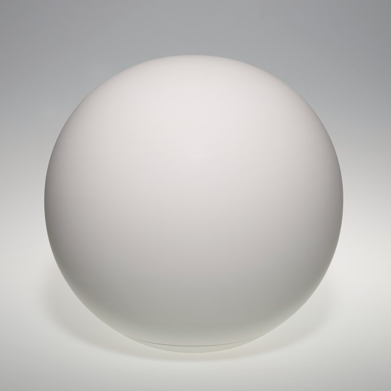white sphere with smooth surface with a seperate flat, disc-shaped base