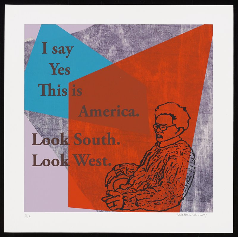 cartoonish elderly figure seated on chair facing L at LRC; grainy wood-grain background in gray, with dark orange and blue overlapping shapes; text reads: I say / Yes / This is / America. / Look South. / Look West.