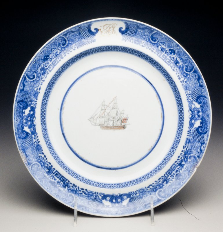 Plate, ceramic, Chinese Export XIXc cat. card dims diam 9-3/4' Holiday Traditions, MacFarlane Room; Porcelain with 'Fitzhugh' border pattern, initials T.J. and sailing ships in underglaze blue