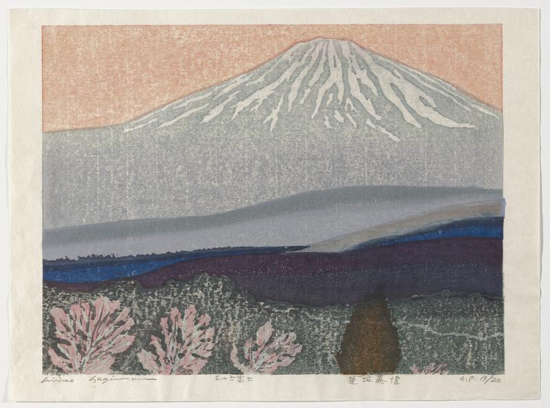 abstracted image of Mount Fuji in medium and pale grey in background with layers of land forms in foreground in blue-grey, blue, purple and green, with pink, brown and green foliage in foreground; orange sky