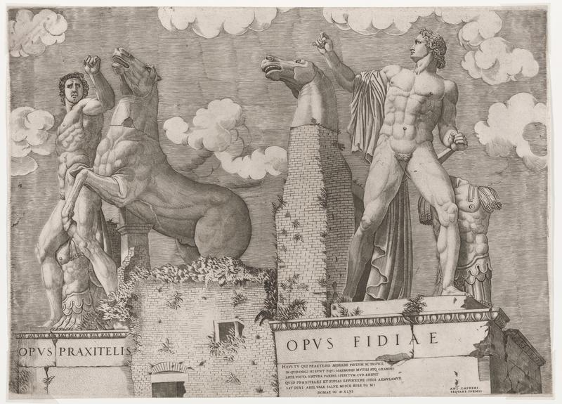 image of a Classical outdoor sculpture with two nude men--one at left and one at right--each with a torso of armor near their legs; each figure has a upraised arm; figure at left faces out of the picture plane, figure at right looks toward PL; head of horse on a brick column behind man at right; rearing horse to PL of figure at left; brick support wall with foliage growing between bricks at left center bottom; text on bases below egg and dart trim at left and right; clouds in sky; two sheets joined together