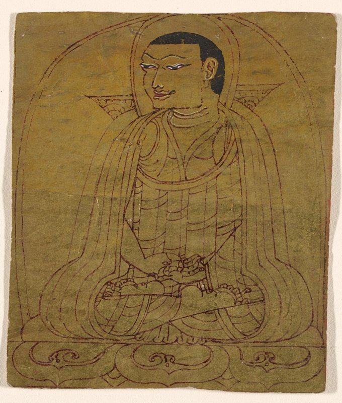 drawing of a male figure seated on a lotus throne, looking toward his PR side; gold ground; 12 lines of text, in red, on back