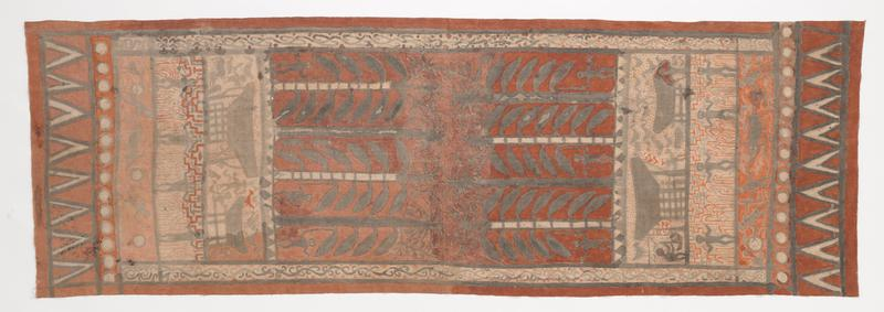 painted handspun and woven cotton; nearly symmetrical design with various horizontal bands including circles, triangles, figures plowing with an ox, figures with red and black geometric and arcing designs, houses with people and animals, and figures and animals with very tall corn-like plants; rust red, orange-red, black, grey, and white