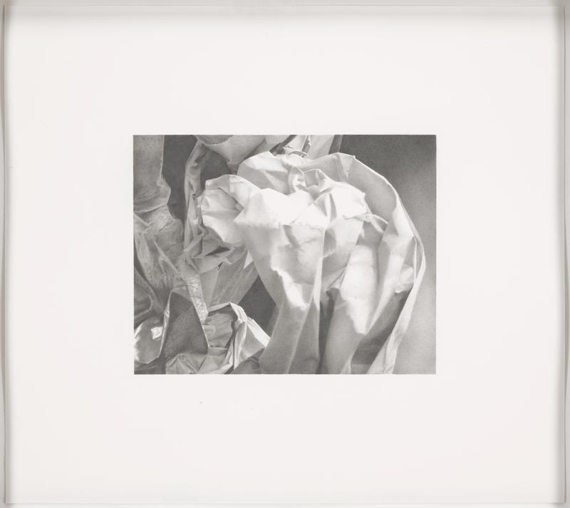 hyper-realistic black-and-white image of folded or creased and crumpled paper and/or cloth; shaded ground space at right