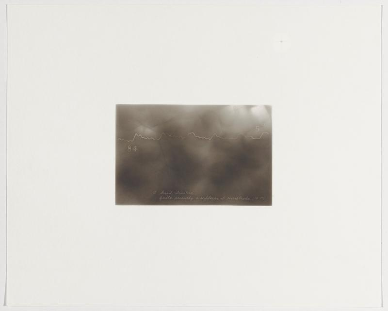 "smokey grey background; irregular wavy white line; ""84"" beneath line at left; ""5°"" above line at right"