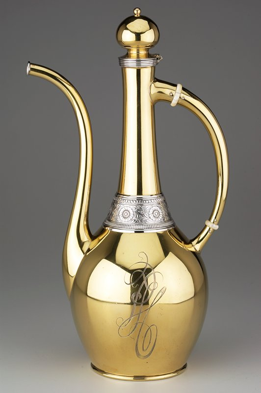bulbous body with long, tapering neck, slightly flaring at top; hinged cover with bulbous knob; long, thin handle with ivory rings; long, thin spout; band with floral design at bottom of neck