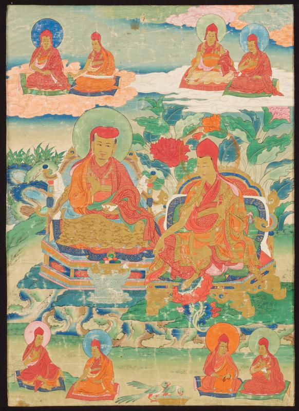 2 large lamas at center one holding a white dish, with a green disk behind his head, the other wearing a pointed red cap with a transparent orange disk; 4 smaller lamas above and below; pair of green birds drinking out of a golden bowl at bottom center; areas of text on back