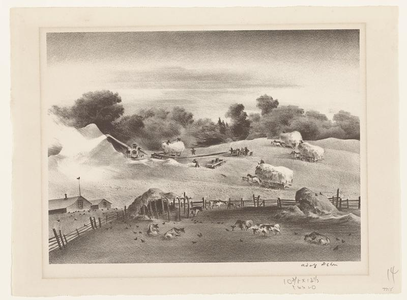 landscape with people working in a field; cows in an enclosure in the foreground; black frame