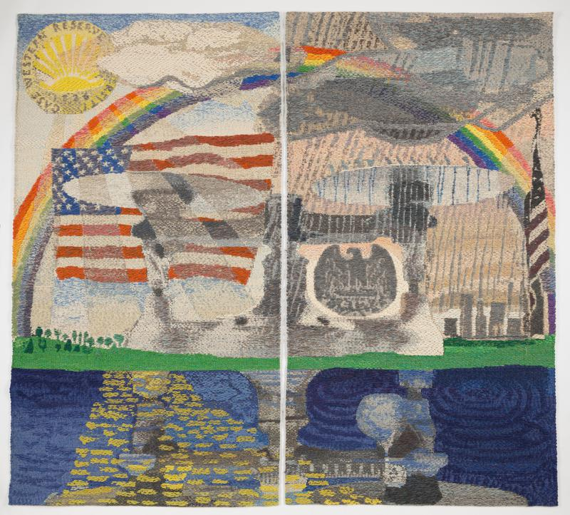 two large woven panels displayed together to form an image; rainbow arching across a sky that extends through the right and left panels; white clouds on top right edge on left panel; round yellow emblem featuring a sun in the ULC of the left panel; depiction of the American flag in the center of the left panel, with abstracted gray elements juxtaposed over the top of the flag; green space with trees in the center left edge of the left panel; body of water dappled with yellow sunbeams on bottom left edge on left panel; streams of gray rain falls downward over abstract gray mass, with emblem in the center in the shape of an eagle; rising building in the right center of the right panel; depiction of the American flag on a pole on the right edge of the right panel; dark blue body of water on the bottom, with abstract light blue and gray shapes in the center; headers installed on both panels