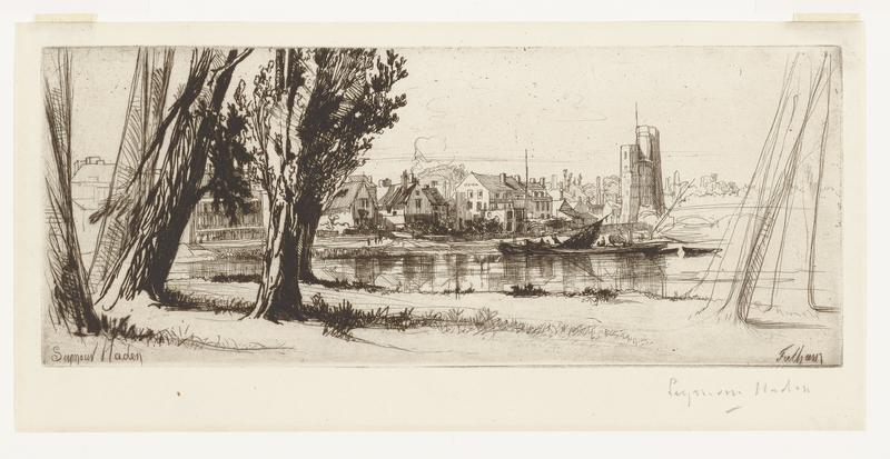 black ink on off-white paper; tree trunks at left side of image with grassy bank along lower area of image; area of water across middle of image, indicated by horizontal lines; pointed-roofed houses packed closely together on bank above water across image, receding into distance from left to right; tall rectangular buildings at edge of bank on right side; two boats with lowered sails near bank by houses to right of center; at left edge drawing style becomes sketch-like and light; outline of building between trees at right edge also becomes sketch-like and light