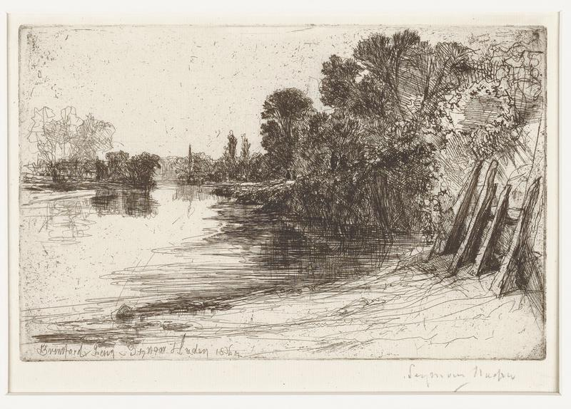 black ink on off-white paper; slightly curved waterway from LLC to center of image; dark brushes and trees, and taller trees sketched in lighter lines on short dark bank at left edge; dark trees along right side of water from center to LRC; at LRC light ground and light wall at right edge; four pieces of wood in a row learning against wall; shadows of trees reflected in water along stream; many ink speckles throughout image