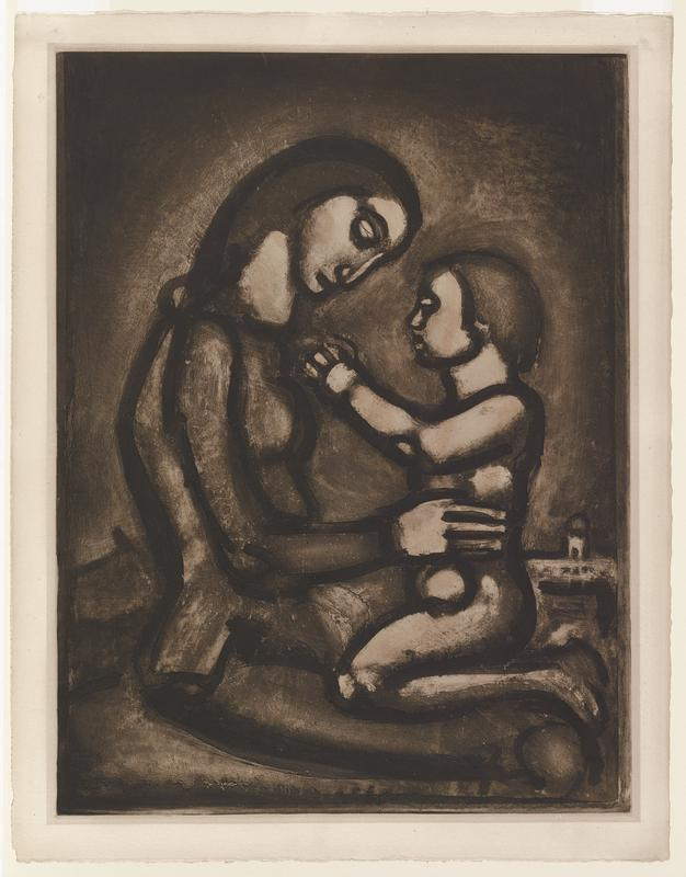 a seated mother in profile holding a kneeling child in her lap; child is raising their hands to the mother's neck and the mother's head is bowed toward the child; small, abstracted tower in the background along R edge, behind child