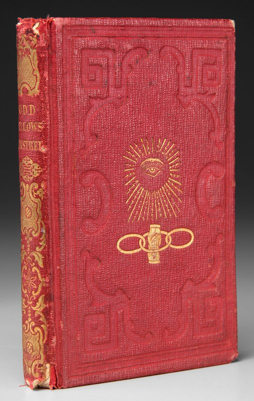 red-stamped card binding with gilt decorations and page edges; color and gilt lithograph in front