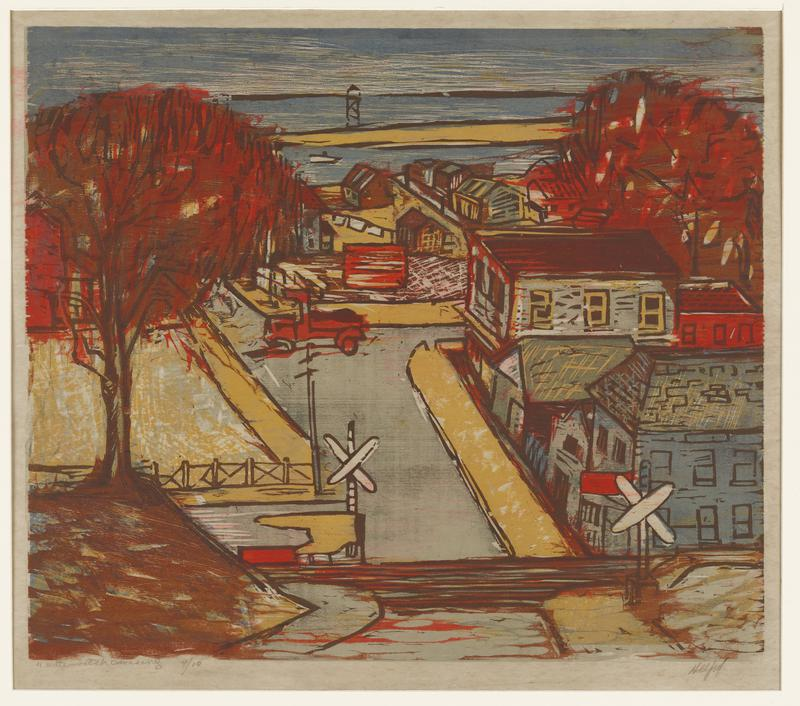 colorful image of a small town in yellow, gray and brown pigments; railroad tracks and crossing in bottom center; red truck in center; tree with red leaves on a brown mound on left side of image; groups of buildings on right and in URQ; seascape in top center