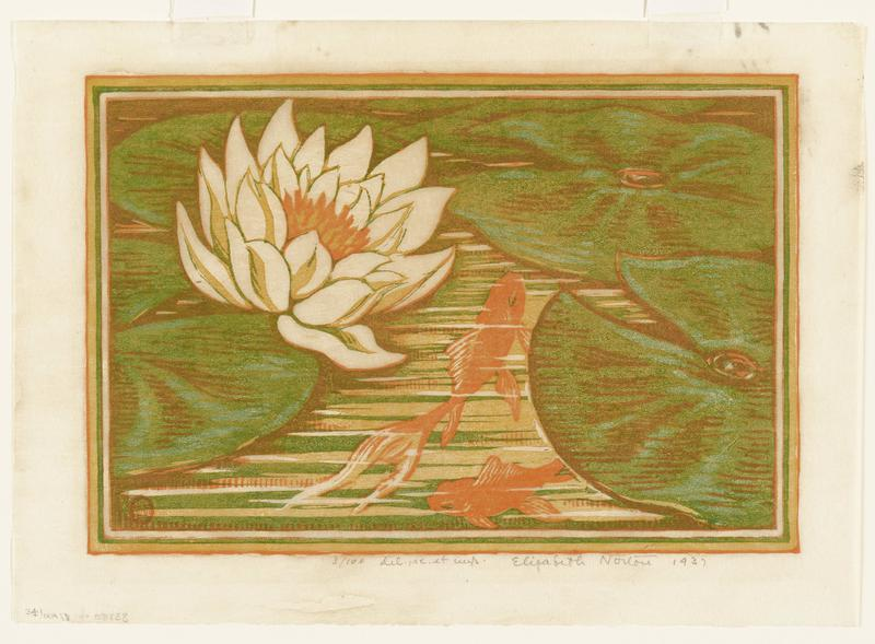 two goldfish swimming in a pond in LRQ; lily pads in LRQ, URQ and on left; waterlily in ULQ; rendered in green and orange washy pigments; lined border around image