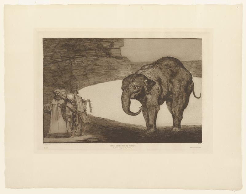 an elephant on the viewer's right looks toward a small group of four figures on the left; the four figures are in long robes and hold up papers to the elephant; a white semi-circle behind the elephant gives the impression of a body of water and a back mass in the back L gives the impression of a cliff or wall