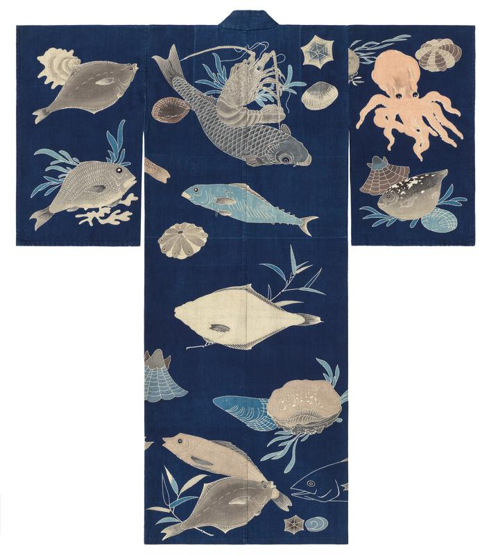 dark blue background with large sea creatures including fish, lams, crustaceans, and an octopus