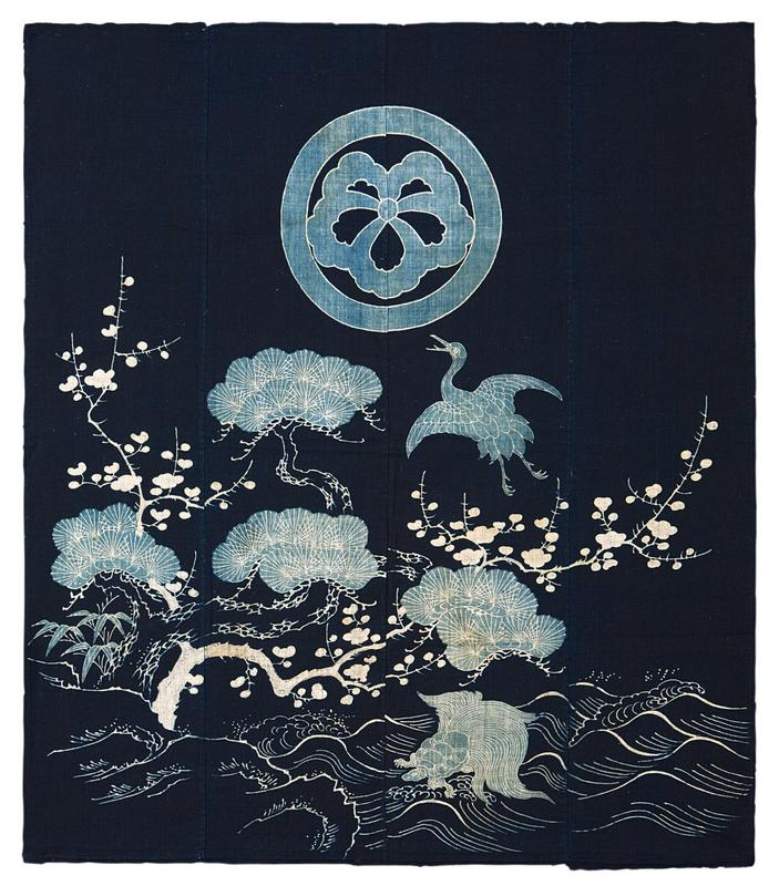 four vertical, navy blue panels with light blue and white imagery including white branches with petals, light blue bushes and bamboo leaves, a turtle, and a light blue crane; light blue circle at TC with five petal flower inside
