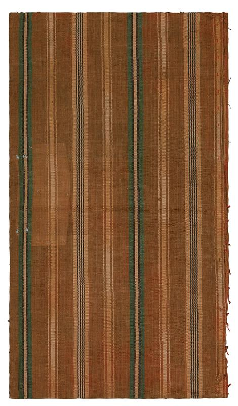 fragment of brown/gold fabric with green, white, and black, vertical stripe pattern; fragment ends are sewn together along bottom edge with open sides