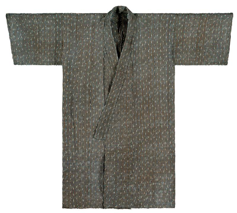 black, blue, and tan checkered robe with subtle diamond pattern throughout