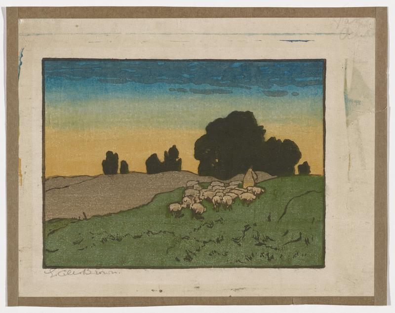 gradated sky in blue and yellow pigments, with thin, dappled clouds across top of image; blackened shapes of trees across horizon; group of sheep led by a single figure in center right; rising green hills in LLC, moving into center right; gray piece of earth in center left; pale green paper mounted around all edges of sheet