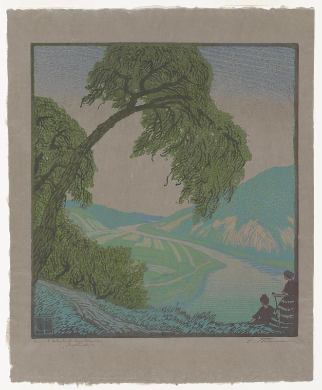 landscape scene with valley with winding river in center; rising tree covered hill on right; plowed fields to left of river; arching tree on left; two figures, one holds parasol in LRC; printed on gray paper