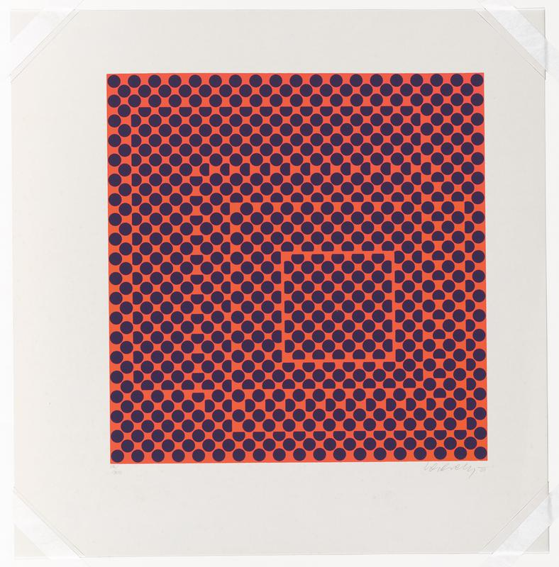 bright orange ground with squares filled with dark blue dots