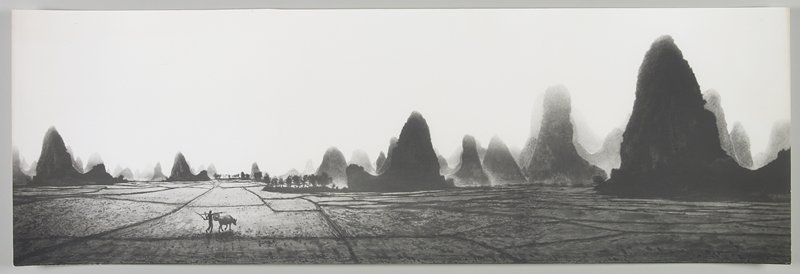 figure with a hat and an ox walking through a field near LRC; tall, dark, curving land formations; trees at center L; Li River, Peoples Republic of China