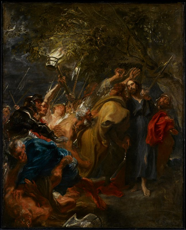 "Kiss of Judas: accompanied by soldiers with torches and lanterns, he kisses Christ. The scene is described in the Bible: Matthew 26:51, Mark 14:47, Luke 22:47, John 18:3-10 (Then Simon Peter, having a sword, drew it and struck the high priest's slave (Malchus) and cut off his right ear."" John 18:10)"