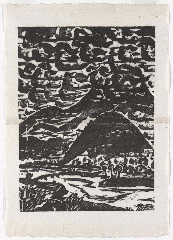 black and white image; blocky clouds in sky; mountains in center; groups of shrubs and buildings in in LLC