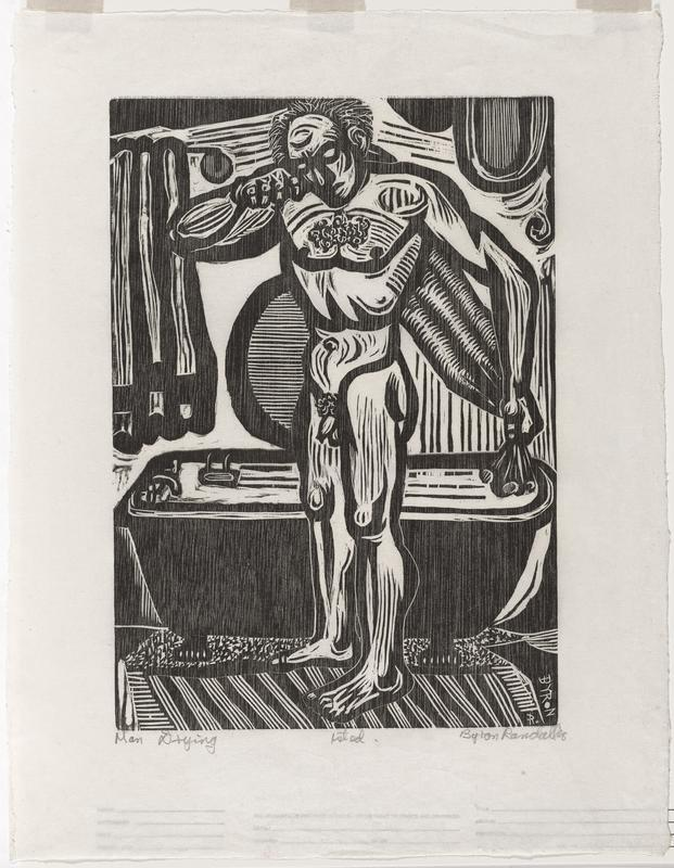 standing nude man drying his back; bathtub behind man