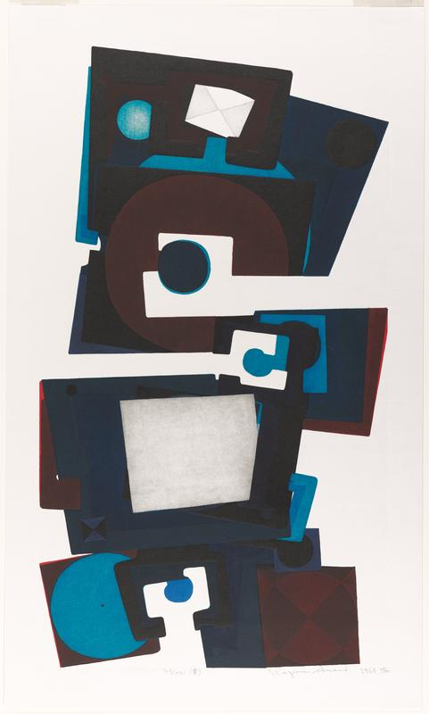 teetering column of squares and partial squares with bulbous shapes; brown, black, blue, and teal; small envelope TC; gray offset square lower C