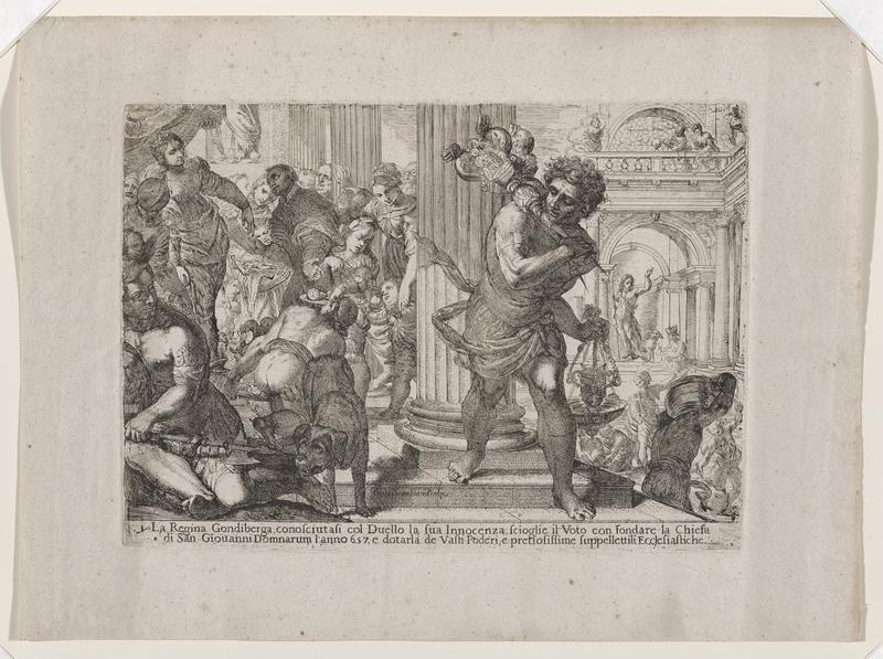 many figures; woman with crown in ULC; man at right holding candle stand and hanging vessel; dog with man with weapon in LLC; some architectural details; large columns in foreground; archway and balcony at right; text at bottom