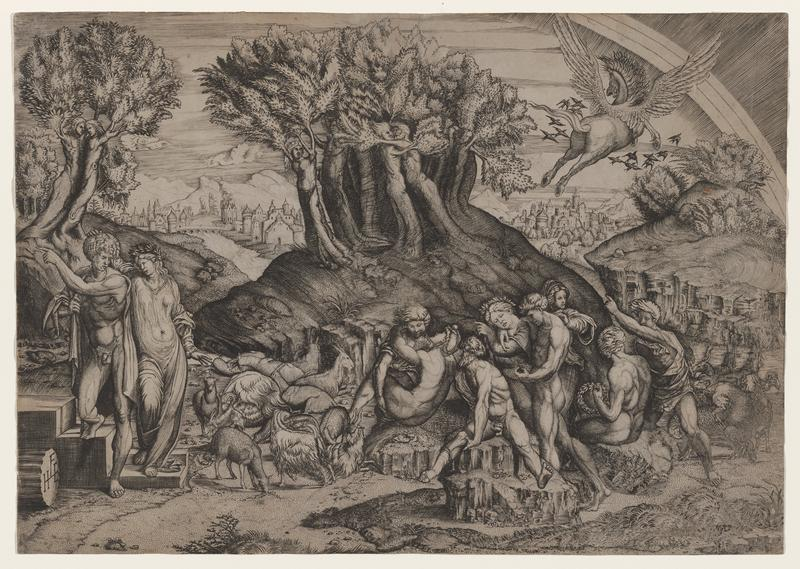 scene with ten figures in various states of undress, interacting in small groups throughout foreground (two on left, eight in center); goats and sheep scattered between groups; personified trees on hilltops at left and center in midground; third hill, buildings and bridge over river in background; airborne pegasus flying away in flock of birds