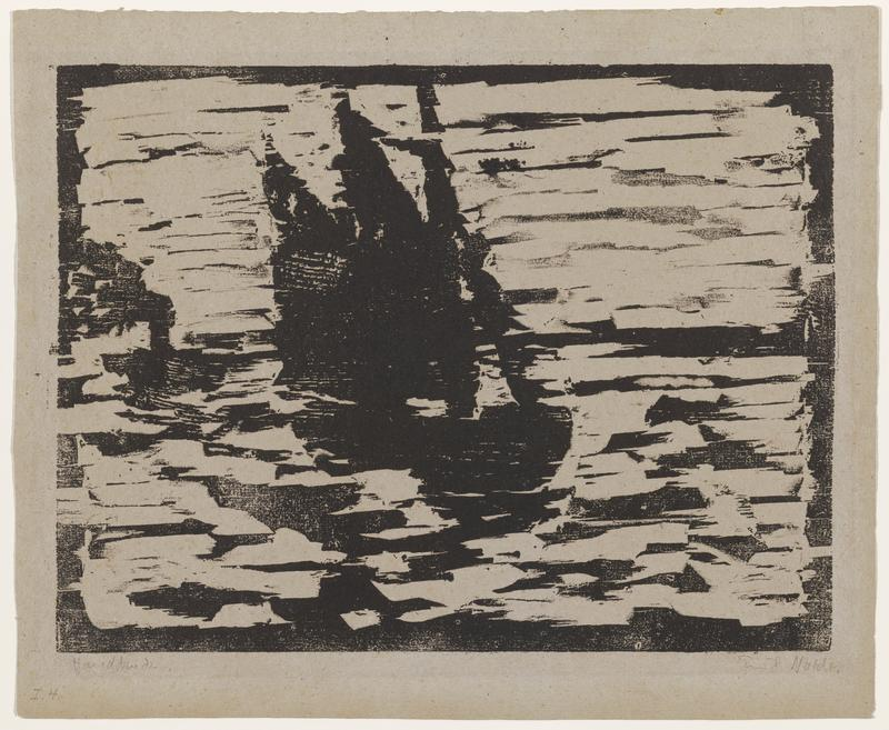 sailboat with three sails on choppy water, harbor in Hamburg, Germany; printed in black ink