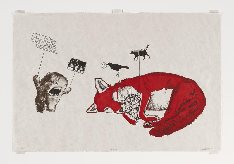 Lithograph printed from four plates: two reds, brown, and black. Depicting a fox holding a turtle and Japanese character Dōmo-kun. Printing order: red flat, red wash, brown, and black.