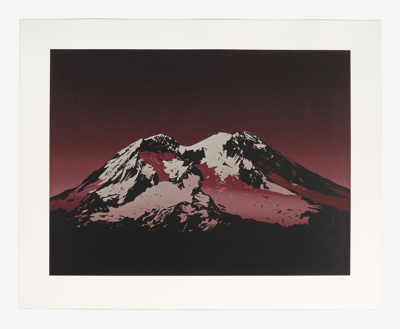 Screenprint in 19 layers and 40 colors of a twin peaked mountain (Mount Rainer) predominately printed in blended transparent purples and blacks.