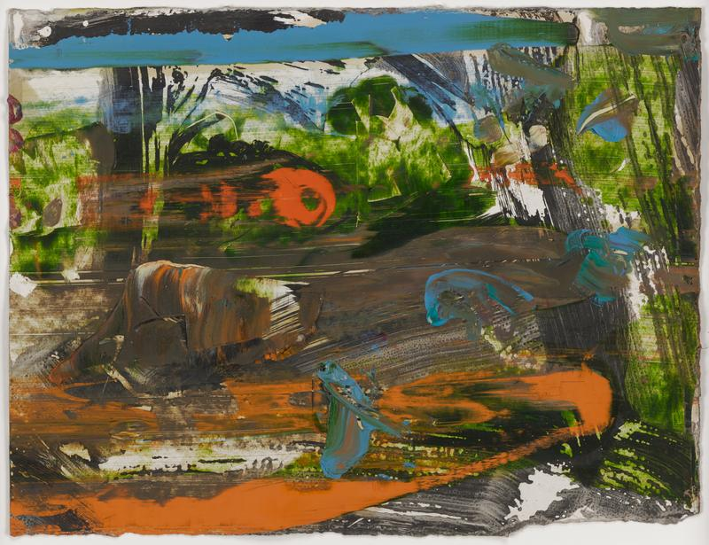 abstract image in multi-colored pigments; horizontal streak of blue across top edge; horizontal streak of orange that moves diagonally upwards to LRQ, and again moves back across bottom edge; spots of washy green; blobs of impasto at bottom C and in L