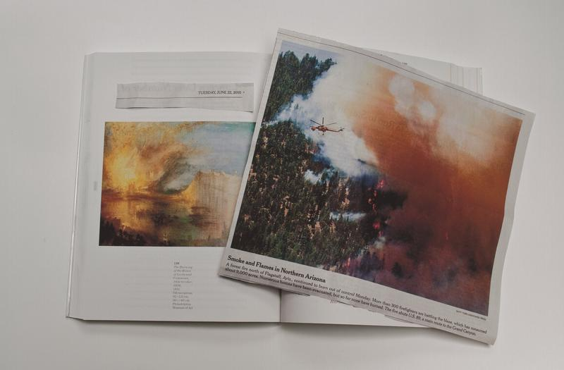 color image of a newspaper clipping with a color photograph of a helicopter flying over a forest fire on top of a book with an image of a J.M.W. Turner painting of a fire