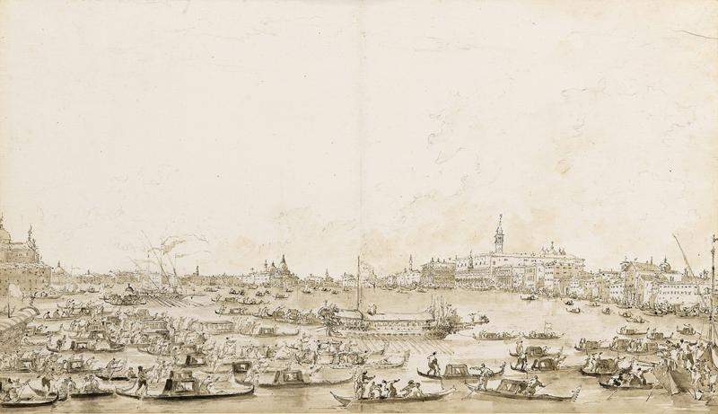 many boats in with many figures; Venice skyline in background; low horizon line; received in gilt frame