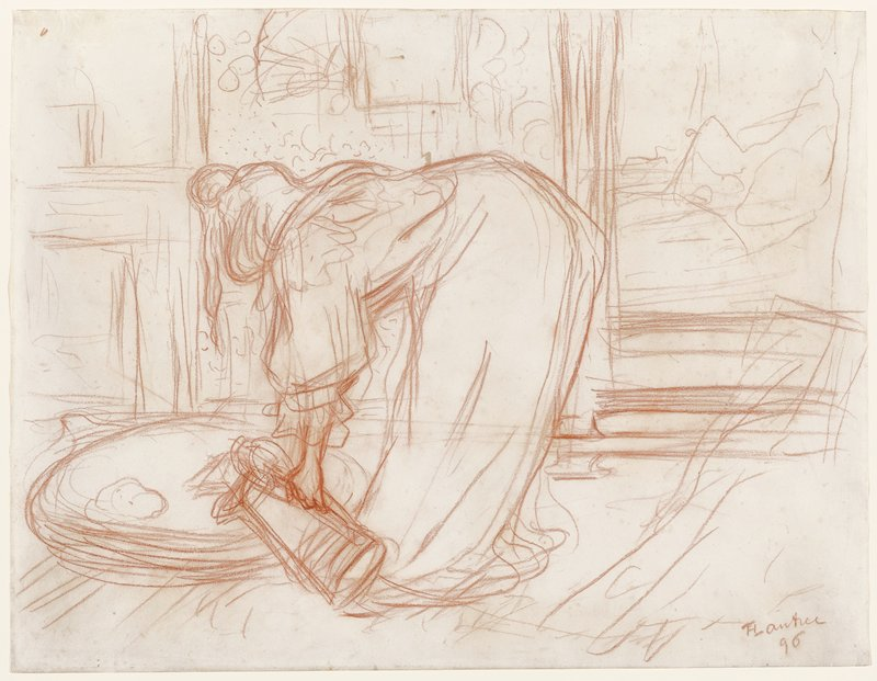 woman leaning over and pouring water into a basin viewed from behind; the drawing is a preliminary sketch for the lithograph of the same subject in the series 'Elles' published in 1896