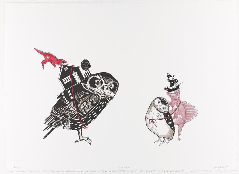 Lithograph printed in black from one plate depicting two owls with toys strapped to their backs. Hand-colored by the artist using gouache, watercolor, colored pencil, and ink.