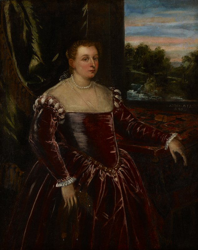 Three quarter length portrait of an unknown woman