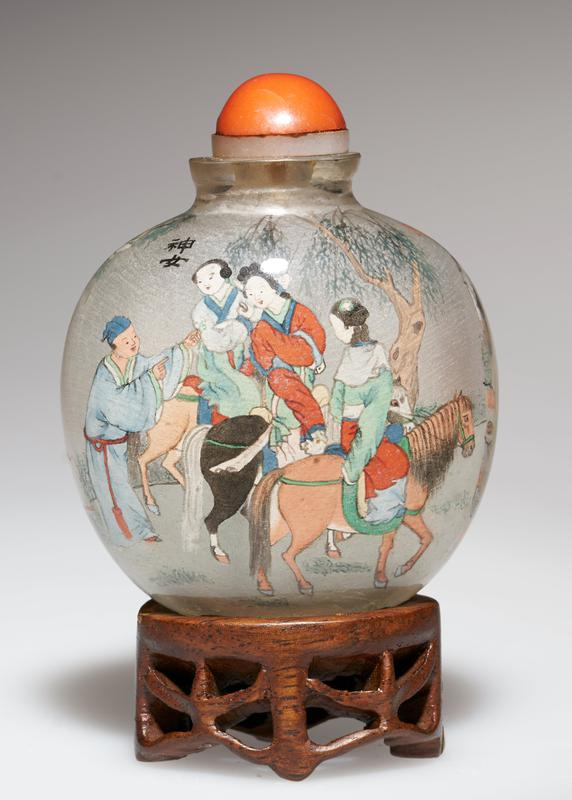 snuff bottle; crystal with red top; hand-painted scenes inside