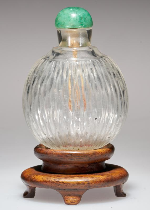 glass, white, green jade top; glass carved with waves