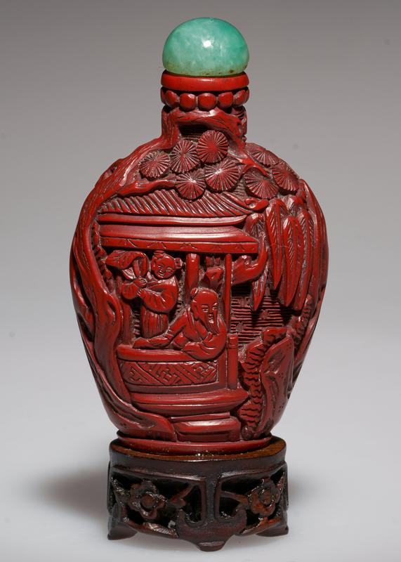 cinnabar lacquer, carved; jade top; Philosophers under a Pine Tree